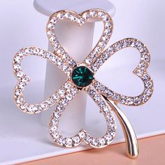 2014 Fashion Clover Women Gold Flower Crystal Brooches Pin Up Accessories Wedding Jewelry Broche Leaf Blue Green Broach Mix Lot-in Brooches from Jewelry on Aliexpress.com | Alibaba Group