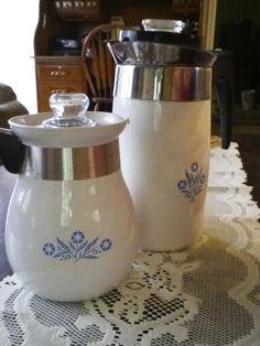 Vintage Corningware coffee pots.