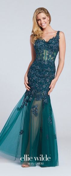 Prom Dresses 2017 - Ellie Wilde for Mon Cheri - emerald green Sleeveless Tulle and Lace Prom Dress with Sheer Midriff and Skirt - Style No. EW117062