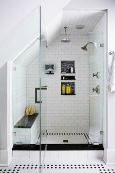 Subway tile with bench and built ins (nix the black and white floors) Loft Bathroom, Master Bathroom, Small Bathroom, Bathroom Stand, Bathroom Ideas, Bathrooms, Walk In Shower, Bathroom Inspiration, Slanted Ceiling