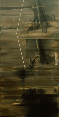 "Silver Thrust, Susan Rankaitis, 1987, Combined media on photographic paper, 87"" x 40"""