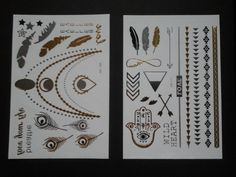 Azteca black and gold temporary tattoo jewelry, gold, silver and black metallic