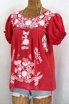 """Mexican Peasant Blouse Top Hand Embroidered: """"La Mariposa"""" Tomato Red"""