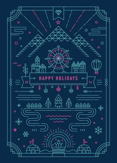 line art Holiday Greeting Card by Yiwen Lu Web Design, Line Design, Design Art, Design Graphique, Art Graphique, Line Illustration, Graphic Design Illustration, Art Illustrations, Menu Bar