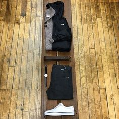 Men's Look No. 2: The First Frost  Jacket: @thenorthface Shirt: @icebreakernz Sweater: @fjallravenusa Pants: @citizensofhumanity Shoes: @sperry Watch: @timex Belt: #BisonDesigns