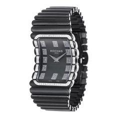 Rochas Black Coated Stainless Steel Case & Bracelet with Diamond Bezel Watch