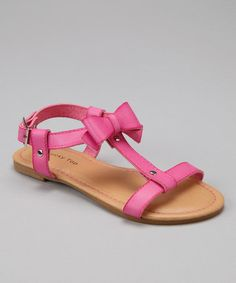 Take a look at this Fuchsia Bow T-Strap Sandal by Lucky Top on #zulily today!