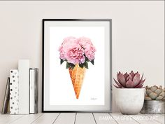 Your place to buy and sell all things handmade Thick Cardboard, Cardboard Tubes, Ice Cream Flower, Cream Flowers, Fashion Wall Art, All Design, Fine Art Paper, Peonies, Picture Frames
