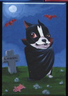 Boston terrier destuffula dog art magnet by rubenacker on Etsy, $4.25