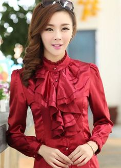 Ruffled RED Elegant Chiffon Blouse for Women-Ruffled RED Blouse   sariasknitncrochet - Clothing on ArtFire