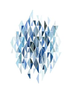 Handmade Watercolor Painting- Abstract Blue Triangles- 8x10 Wall Art Watercolor Print. $20.00, via Etsy.