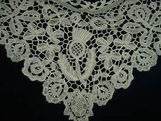 RARE early Antique circa 1820 HONITON lace Collar...with Thistle & Roses. | eBay