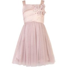 Little MisDress Pink Flower Embellished Dress ($77) ❤ liked on Polyvore featuring dresses, pink, chiffon cocktail dress, sparkly cocktail dresses, pale pink cocktail dress, special occasion dresses and pink sparkly dress