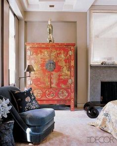 A Chinese lacquer armoire in the master bedroom; the court attendant figurine is Tang dynasty. Asian Interior Design, Chinese Interior, Contemporary Interior Design, Interior Design Inspiration, Interior Styling, Home Decor Wall Art, Bedroom Decor, Master Bedroom, Oriental Bedroom