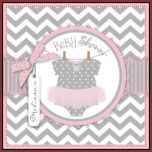 Sweet polka dot print jumper tutu on clothesline and 3D-look bow and ribbon for a girl baby shower invitation card.  Colors are pinks and grays.