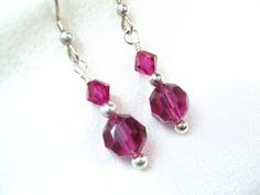 Fuchsia Swarovski Crystal and Silver Earrings | dianesdangles - Jewelry on ArtFire #bmecountdown