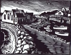 Carroll Thayer Berry, Ogunquit Artist   Fishing Shacks, Perkins Cove. Linocut 1936. Carroll Thayer Berry was an American artist who grew up in Maine, and whose work is often said to be emblematic of New England, especially the seacoast. In addition, he was one of first U.S. artists to be assigned to camouflage in World War I.  www.ogunquitbeachinn.com