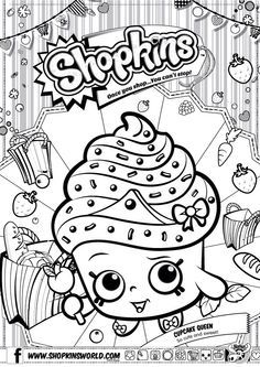 Shopkins Colour Color Page Cupcake Queen ShopkinsWorld so cute