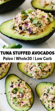 Tuna stuffed avocados are a delicious low-carb, keto, Whole30 and paleo-friendly lunch or snack recipe. A simple combination of tuna salad and avocados makes for a healthy lunch recipe. #stuffedavocados #whole30recipes #lowcarb #keto #paleo #PaleoRecipesTuna