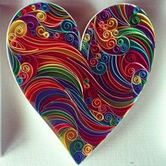 Love Heart Paper Quilling Art by QuillingbyCourtney on Etsy, $55.00: