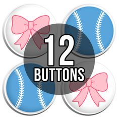 Baseball Or Bows Gender Reveal Buttons Pins pinback buttons set of 24