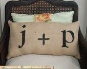 love letters burlap pillow