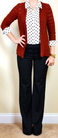 Outfit Posts: outfit post: polka-dot blouse, chunky knit rust cardigan, black editor pant