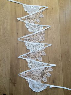 4.5m Vintage Doily Bunting. So delicate. Perfect for a summer wedding. Available from Eclectic Minx on Etsy.