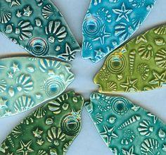 6 fancy ceramic fish / firedandfused on Etsy