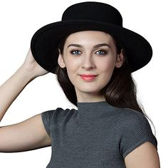 Siggi Womens 100% Wool Felt Hat Winter Panama Fedora Pork Pie Hats Bow Black ** For more information, visit image link.