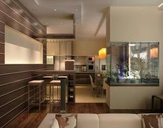 Delightful Modern Interior Design With Fish Aquariums Ideas