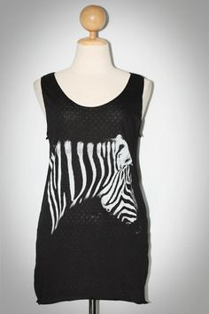 Zebra Horse Black Sleeveless Tank Top Women Art-Indy Size M-L