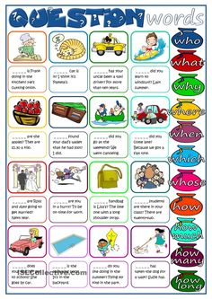 A worksheet to practise Wh-questions. Students have to complete the questions with one of the question words in the list (some of them will be repeated). B&W version and KEY included. Hope it´s useful for you. English Vocabulary, English Grammar, Teaching English, English Language Learners, English Activities, Language Activities, Receptive Language, Speech And Language, Second Language