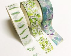 3 Pack Trees Leaves and Nature Washi Tape 15mm x 5m Cute Planner Bullet Journal Nature Theme Washi Tape Green Blue Purple UK Craft Tape