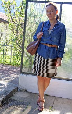 Striped Dress with Denim | Lady of Style