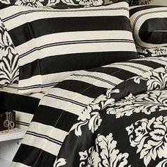 Modern Toile Damask Black Cream Duvet Cover Set