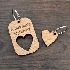 A Boy Stole My Heart Valentines Day Love Keyring Present for Boyfriend - Pretty Personalised                                                                                                                                                                                 More