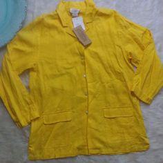 CDG Cambridge Dry Goods Linen Yellow  Button Front Top Over Shirt SZ M NWT $50 #Cambridge #JacketShirt #Casual