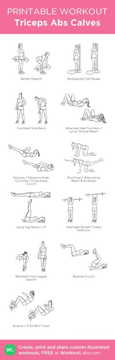 Triceps Abs Calves:my visual workout created at WorkoutLabs.com • Click through to customize and download as a FREE PDF! #customworkout