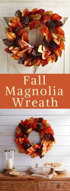 Fall Magnolia wreath, Fall colors Autumn wreath, Harvest wreath, Farmhouse decor, Farmhouse wreath, Fall front door decor, fall leaves wreath decor, fall porch decor, fall porch decorations #ad #affiliatelink