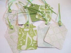 8 Green Mixed Pattern Handmade Gift Tags by jenuinecraftsandmore