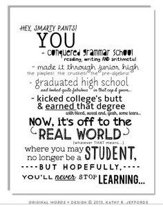 College Graduation Typographic Print. Never Stop Learning by thedreamygiraffe, $18.00