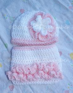 Diaper Cover and Hat Set White and Pink Ruffles Photo Prop Newborn to 3 Months Crocheted Custom Colors