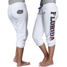 Florida Gators Ladies Razzle Dazzle Sequin Capri Pants – White