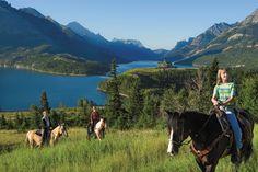 Horseback riding in Waterton Glacier International Peace Park. Vacation Trips, Vacations, Glacier Park, Canadian Rockies, Trail Riding, Family Adventure, Amazing Adventures, Canada Travel, Horseback Riding