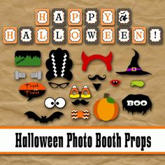 Halloween Photo Booth Props and Decorations - Printable Props and Banner - Over… Halloween Tanz, Halloween Fotos, Halloween Items, Holidays Halloween, Halloween Kids, Halloween Crafts, Happy Halloween, Halloween 2017, Halloween Photo Booth Props