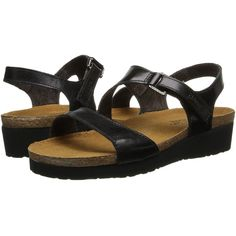Naot Footwear Pamela (Black Madras Leather) Women's Sandals ($145) ❤ liked on Polyvore featuring shoes, sandals, platform sandals, narrow shoes, leather platform sandals, black platform shoes and black shoes