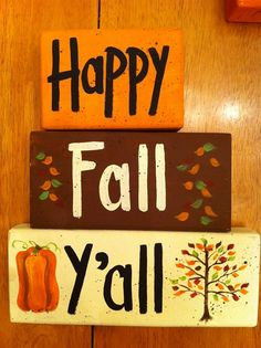 Happy Fall Y'all sign stacking 2 x 4 blocks hand painted pumpkin falling leaves autumn decor - deal for boyfriend Fun Diy Crafts, Fall Crafts, Holiday Crafts, Wood Crafts, Simple Crafts, Recycled Crafts, Holiday Ideas, Thanksgiving Crafts, Thanksgiving Decorations