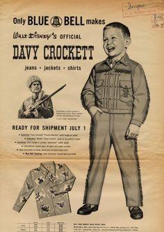 """"""" """"Only Blue Bell makes Walt Disney's official Davy Crockett jeans, jackets, shirts."""" Blue Bell, Inc. Vintage Denim, Vintage Ads, Vintage Posters, Vintage Images, Shirt Print Design, Shirt Designs, Disney Magazine, Magazine Ads, Pinterest Advertising"""