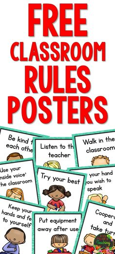 10 FREE Classroom Rules Posters for your classroom (bulletin boards, behavior management, classroom décor, back to school) #islaheartsteaching
